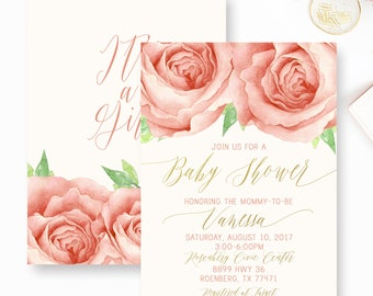 Rose Baby Shower Invitation, Pink Rose Floral Baby shower invite, Rose and Gold Baby Shower Invitation- YOU PRINT