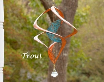BreezeWay Trout Wind Spinner | Garden Copper Wind Art w/ Patina Coloring & Cyrstal Suncatcher | 2 Sizes | Solid Copper | Handcrafted in TX