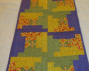 Purple Green and Gold Log Cabin Runner #6008