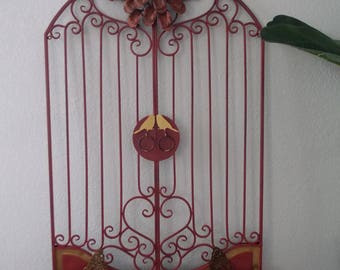 METAL GARDEN GATE . Hand Painted Indian Red . Kissing Birds . Exterior or Interior . Gold Accents .  Metal Art Flower . Gold Butterflies .