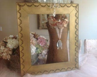 Unbelievably gorgeous large antique gold barbola roses and swags wooden frame