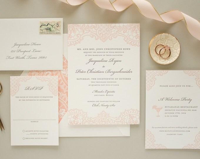 Elegant Lace Wedding Invitation, Vintage Letterpress Invitation, Pink Invitations, Vintage Wedding Invite DEPOSIT | Hope