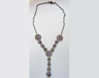 Bronze Filigree & Crystal Y Necklace