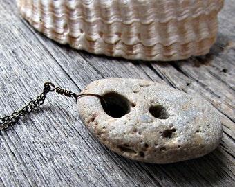 Hag Stone Necklace - Hag Stone Pendant - Protection Amulet Talisman - Holey Adder Stone - Odin Fairy Seer Stone - Natural Stone Jewelry