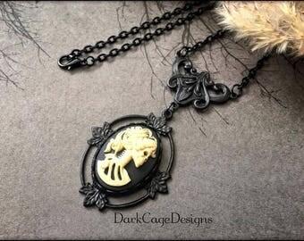 Victorian/ Gothic/ Dark Mori/ Memento Mori/ Lady Lolita Skeleton Cameo Necklace On Ornate Leaf Pendant Setting