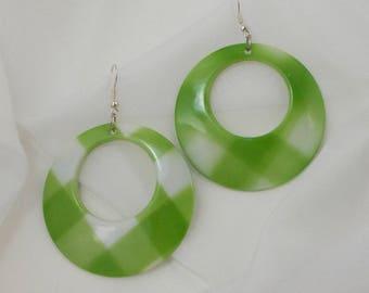 Huge Mod Lime Green and White Plaid Dangle Hoop Earrings  1227