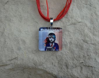 Broadway Musical Les Miserables School Edition Glass Pendant and Ribbon Necklace