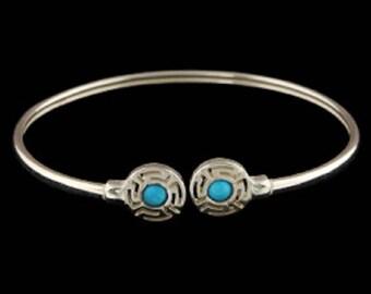 Ancient Greek Sterling Silver Cuff Bracelet - Round Greek Key w/ Turquoise