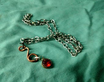 Red Gem and Copper Necklace