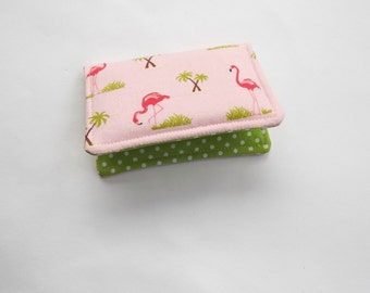 Fabric Mini Wallet, Credit Card Case, Business Card Case Pink Flamingos