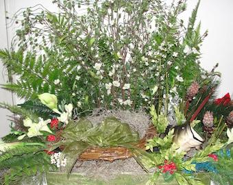 Cremation Urn Silk Flower Arrangement Outdoorsy Fishing Red Bird Memorial Service Altar Custom Orders Welcome  Julie@purecountrycharm.com