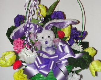 Child / Youth Pinwheel Cemetery Grave Easter Basket Headstone Saddle Lavender Bunny Assorted Colorful Silk Flowers Green Basket