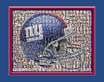 New York Giants Photo Mosaic Print Art using over 100 of the Greatest NY Giant Players of all time.
