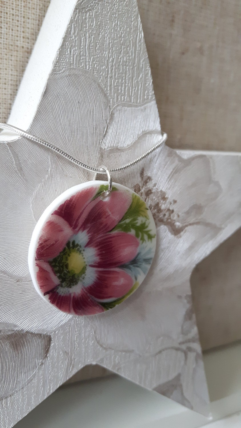 Unusual vintage broken china pendant