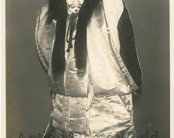Japan Kabuki actor in amazing costume antique photo