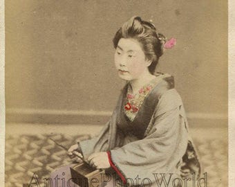 Pretty woman geisha in kimono by tea set antique hand tinted albumen photo Japan