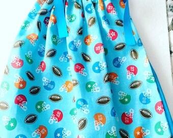 Football Pillow Case Dress, Football Bandana Dress, Toddler Party Dress, Girl's Summer Dresses, Toddler Spring Dress,