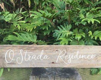 Rustic Timber Surname Sign For The Home SCRIPT FONT