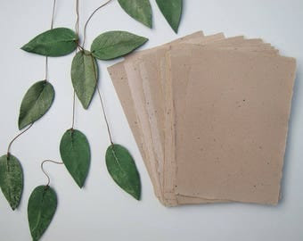 """Green tea Handmade paper sheets, Recycled paper, Eco friendly Decorative paper, Natural rustic Craft paper, 4 sheets 6"""" x 8.5"""" (15cm x 21cm)"""