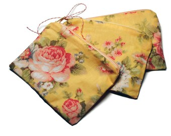 Reusable Snack Bags Set of 3 Zipper Yellow Floral
