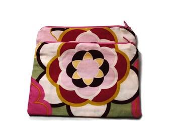 Reusable Snack Bags Set of 2 Zipper Pink Flowers