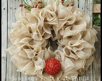 Christmas Wreath , Reindeer Wreath, Deco Mesh Wreath, Rudolph Wreath, Burlap Wreath, Mesh Wreath, Holiday Wreath, Ruffle Wreath, Wreath