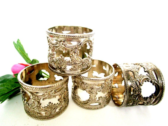 Silver Plate Napkin Rings, Set of 4, Ornate Napkin Rings, Silver Plate Wedding Gift, Art Nouveau