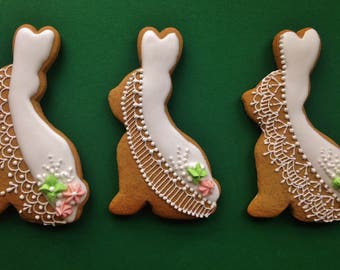 Easter Bunnies -Icing Lace decorated Hungarian gingerbread cookies (3 pieces)