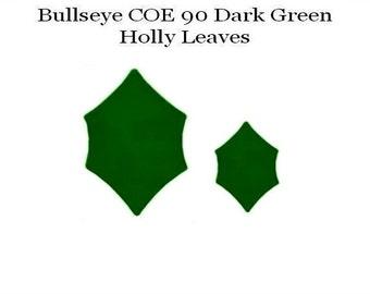 BULLSEYE COE 90 HOLLY Leaves St/2 Dark Green Fusible Glass Fusing Supplies