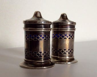 Antique Sterling Silver Cobalt Blue Glass Salt and Pepper Shaker Set