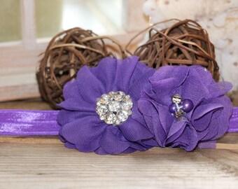 Grape purple chiffon Headband