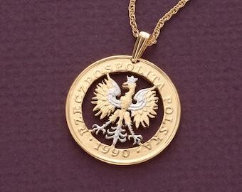 Polish eagle etsy polish eagle pendant and necklace polish 100 zloty coin hand cut 14 karat gold mozeypictures Images