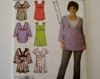 Simplicity 3762 Pattern Maternity Tunic Empire Waist Sleeveless Top Flutter Sleeve Stretch Knit Options Plus Sizes 14 16 18 20 22 UNCUT
