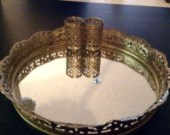 Vintage mirrored make up tray