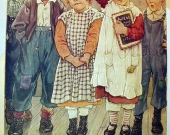 School Children in Spelling Bee Original 1924 Lithograph Artist C M Burd Magazine Cover Art on Board Farmers Wife Home Decor Art