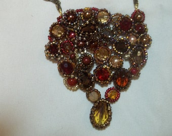 Beaded mosaic necklace with chain