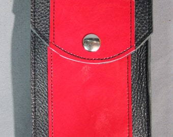 Black and Red Leather Cell Phone Case