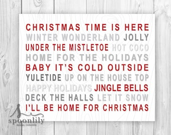 Christmas Art Print, Christmas Time Sign, Home for the Holidays Christmas Decor, Yuletide Holiday Art, Winter Wonderland Christmas Art