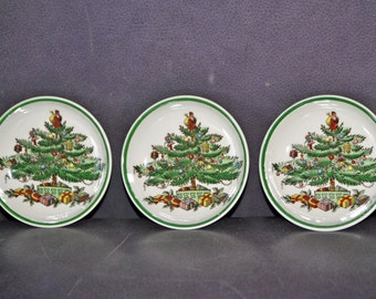 Three Copeland SPODE Christmas Porcelain Butter Dishes