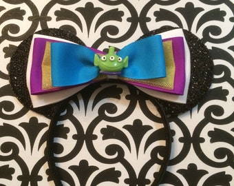 Cute Toy Story Aliens Bow inspired Black Sparkle Minnie Mouse Headband Ears