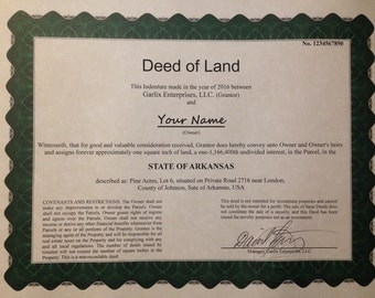 Arkansas Land Deed - 1 square inch - novelty gift