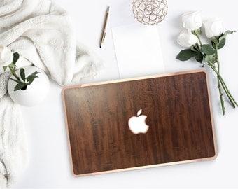 Platinum Natural Series Primavera Wood w/Rose Gold Edge Detailing Hybrid Hard Case for Apple Mac Air & Mac Retina , New Macbook 2016