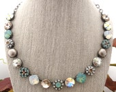 12mm Swarovski Crystal Necklace, White Opal, Pacific Opal, Pearls, Flower Embellished, Gift For Her, MYKONOS, Siggy Jewelry, FREE SHIPPING