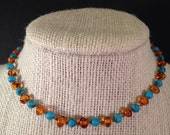 Baltic Amber and Turquoise Teething Necklace 12in