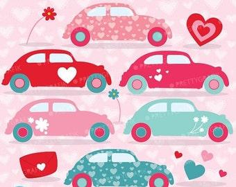 80% OFF SALE love cars clipart commercial use, valentine vector graphics, digital clip art, digital images - CL635