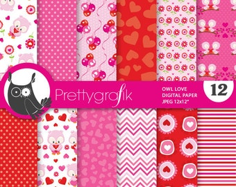 80% OFF SALE Valentine owls papers, valentine owls commercial use, owls scrapbook papers, ...