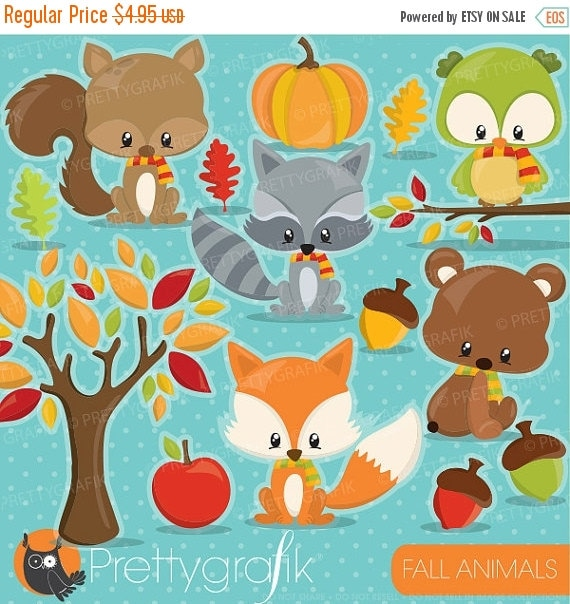 80% OFF SALE Fall animals clipart commercial use, fall clipart ...