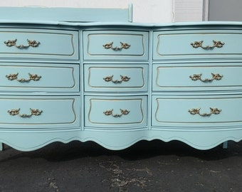 SOLD - - Vintage refinished French provincial dresser with changing tray