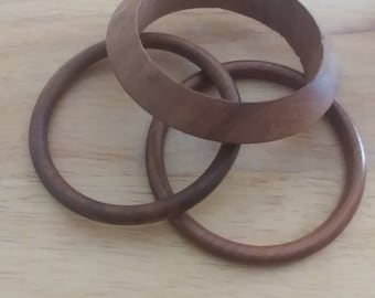 Vintage Set Of 3 Wood Bangle Bracelets