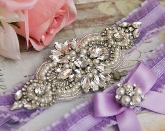 Lavender Organza Garter Set, Wedding Garter Set, Bridal garter Set, Rhinestone Garter, Lavender Wedding Garter, Purple garter